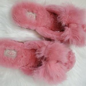 UGG Pink Fur Slides Sandals